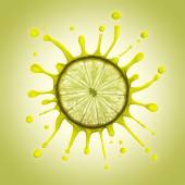 Slice of lemon with several drops of juice around. — Stock Photo