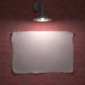 Lamp illuminating the poster overnight — Stock Photo
