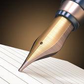 Fountain pen on striped paper — Stock Photo
