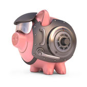 Piggy bank secured with steel door and access code. — Stock Photo