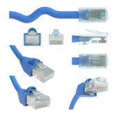 RJ45 cable in various positions and angles of vision. — Stock Photo