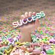 Hand going up and holding the word success — Stock Photo #63254627
