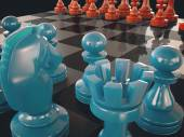 Chess board with pieces of colored glass chessmen — Stock Photo