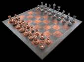 Chessboard with pieces of metal chessmen — 图库照片