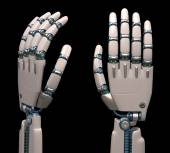 Robotic hands like human skeleton — Stock Photo
