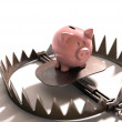 Piggy bank in the bear trap — Stock Photo #63352925