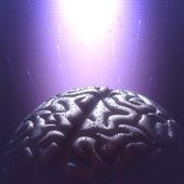 Yağmur damlacıkları ile metal beyin — Stok fotoğraf