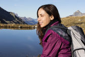 Woman on a hiking trip in autumn — Stock Photo