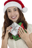 Christmas woman holding her gifts — Foto Stock