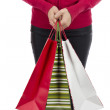 Christmas woman holding her paper shopping gift bags — Stock Photo #59311687