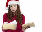 Disappointed christmas gift box woman — Stock Photo