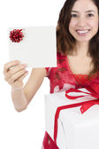 Gift card woman with a gift box — Stock Photo