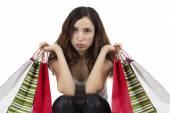 Shopping woman unhappy — Stock Photo