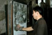 Xi'an, China: Artist at Bei Lin Museum — Stock Photo