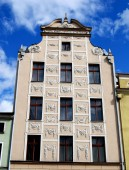 Torun, Poland: Rynek Square 18th Century Baroque Mansion — Stockfoto