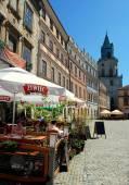 Lublin, Poland: Cafe in Rynek Square — Stock Photo