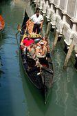 Venice, Italy: Family on a Gondola Ride — Stock Photo