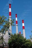 Nyc: keyspan elektrotechnických zařízení komínů — Stock fotografie