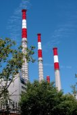 NYC: Keyspan Electrical Plant Smokestacks — Stock Photo