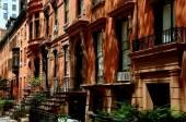 Brooklyn Heights, NY: Row of Brick Brownstones — Stock Photo