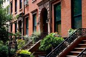 Brooklyn Heights, NY: Row of Brick Brownstones — Stock Photo