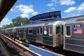NYC: Number 7 Flushing Line Subway Train — Stock Photo