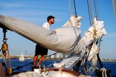 Boston, MA: Sailor on Liberty Clipper Sailing Ship — Stock Photo