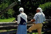 Sleepy Hollow, NY: Costumed Guides at Philipsburg Manor — Stock Photo