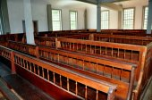 Rockingham,VT: 1787 Meeting House Pews — Stock Photo