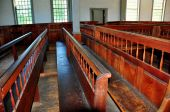 Rockingham,VT: 1787 Meeting House Pews — Stockfoto