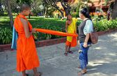 Kancahanburi, Thailand:  Youthful Monks at Thai Temple — Stock Photo