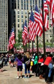 NYC:American Flags at Rockefeller Center — Stock Photo