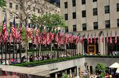 NYC: American Flags at Rockefeller Center — Stock Photo