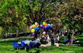 NYC: Riverside Park Birthday Party — Stock Photo