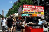 NYC:  Food Vendor's Booth at Upper West Side Street Festival — Stock Photo