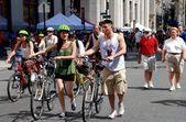 NYC: Bicyclists on Park Avenue at Summer Streets Event — Stok fotoğraf