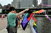 NYC:  Families Flying Kites in Riverside Park — Foto Stock