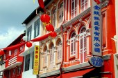 Singapore: 19th Century Shop Houses in Chinatown — Stock Photo