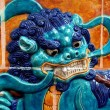 Singapore: Glazed Blue Dragon at Chinese Temple — Stock Photo #64520175