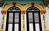 Melaka Malaysia: Chinese Shop House Windows — Stock Photo