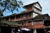 Jie Zi Ancient Town, China: Wastepaper Pagoda Square Half-Timber Buildings — Stock Photo