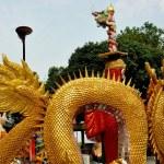 Bang Saen, Thailand: Gilded Dragon at Chinese Temple — Stock Photo #72469513