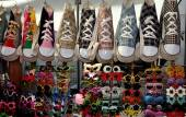 Bangkok, Thailand: Sneaker Shoulder Bags and Sunglasses — Stock Photo