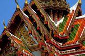 Bangkok, Thailand:  Ornate Gable Roof at Wat Yanawa — Stock Photo