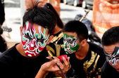 NYC: Performer Applying Facial Makeup at Asian Festival — Stock Photo