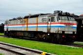 Strasburg, PA: Old AMTRAK Engline at Railroad Museum of Pennsylvania — Stock Photo