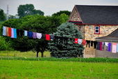 Lancaster County PA: Laundry Drying on Clothesline — Stock Photo