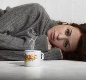 Girl with a coffee — Stock Photo