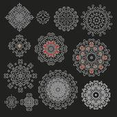 Set of decorative snowflakes — Stock Vector