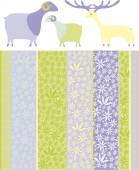 Set of sheep and deer — Stock Vector
